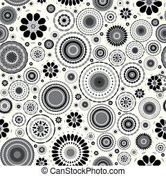 floral, blanc, arrière-plan noir