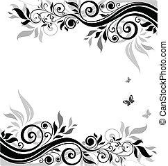 floral, blanc), bannière, (black