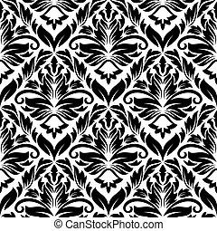 floral, blanc, noir, seamless