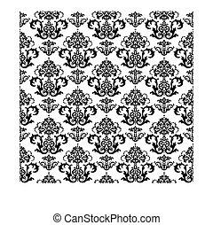 floral, blanc, papier peint, noir, seamless