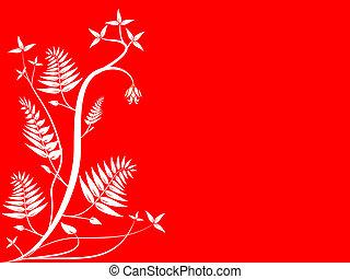 floral, blanc rouge, fond
