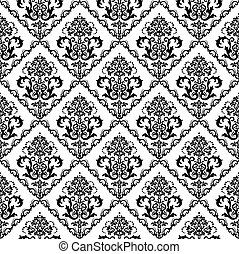 floral, blanco, papel pintado, negro, seamless