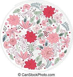 floral, bloemen, anders, gemaakt, cirkel