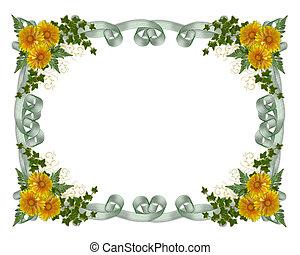 floral, bloemen, grens, gele