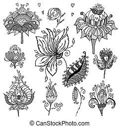 floral, bloemen, set, retro, boeketten