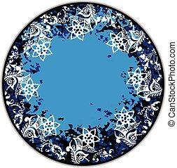 Floral blue round frame