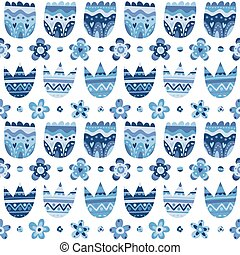 Floral blue seamless pattern, tulip