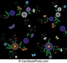 Floral blue violet daisy embroidery seamless pattern. Vintage Victorian flower ornament fashion textile decoration. Stitch texture vector illustration