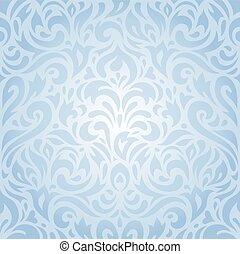 Floral Blue Wallpaper Pattern Background Design Bright Wedding Vintage