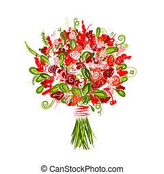 floral boeket, ontwerp, jouw