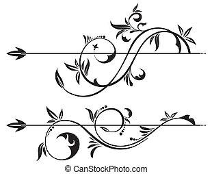 floral, boekrol, element