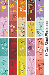 Floral Bookmarks - Collection of ten decorative colorful,...