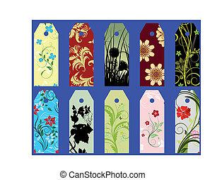 floral bookmarks - Set of ten vector floral bookmark labels