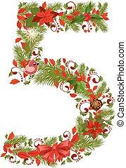 floral, boompje, 5, kerstmis, getal