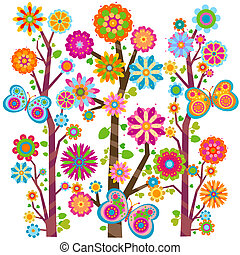 floral, boompje, en, vlinder