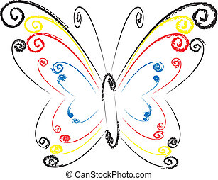 floral, borboleta, coloridos