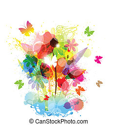 floral, borboleta, fundo