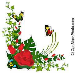 floral, borboletas, fundo