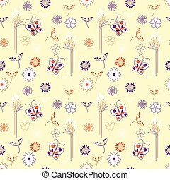 floral, borboletas, vetorial, seamless, fundo