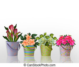 Floral border Flowers in colorful containers - Image and...
