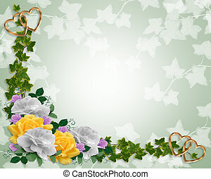 Floral Border invitation Ivy and roses