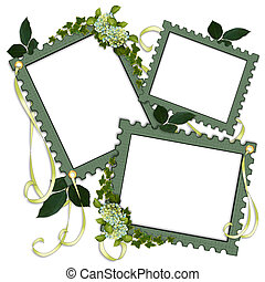 Image and illustration composition with 3 stamp design frames, spring flowers, ribbons, leaves for scrapbook page layout, template, on white background.