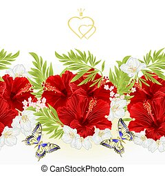 Floral border seamless background red hibiscus with jasmine and butterfly vector