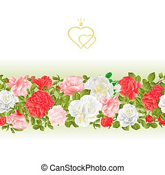 Floral border seamless background with blooming roses vintage vector