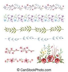 Floral Border. Set of vintage watercolor flowers.