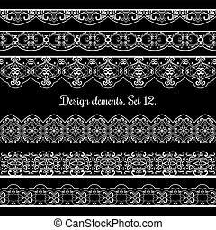 Floral border set. Vector frame elements for beautiful cards design