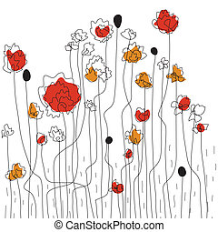 Floral border sketch with poppies