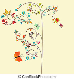 Floral border - Vector border with tree and small flowers