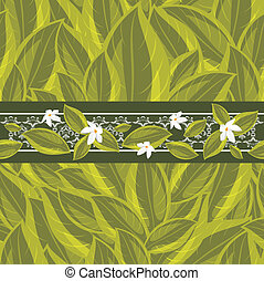 Floral border with a green leaves
