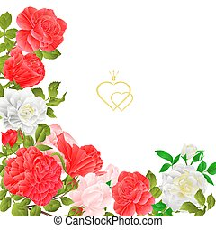 Floral border  with blooming roses vector.eps