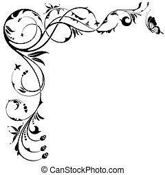 Floral border with butterfly, element for design, vector...