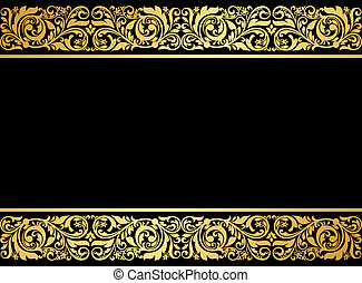 Floral border with gilded elements in retro style for embellishment design