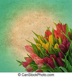 floral border with tulip flowers. retro style picture -...