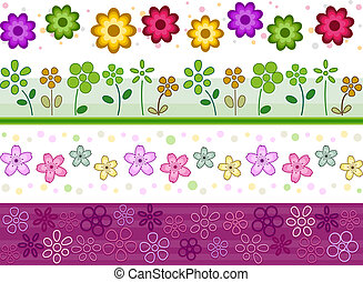 Floral Borders - Floral Border Set with Clipping Path