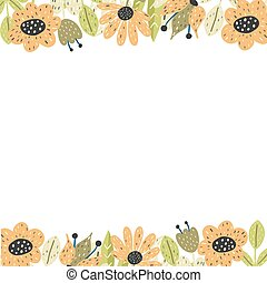 Floral borders template. Background with place for your text