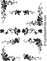Floral borders with blooming rose flowers - Vintage floral...