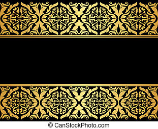 Floral borders with gilded embellishments in retro style