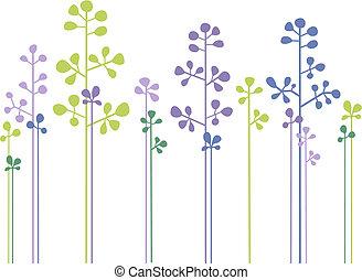floral, bosque, vector, diseño