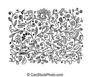 floral, bosquejo, diseño, su, patrón