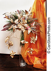 Floral bouquet in glass vase