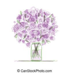Floral bouquet in jar, sketch for your design