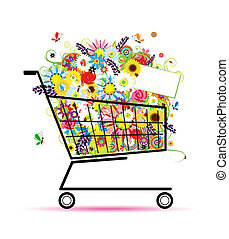 Floral bouquet in shopping cart for your design