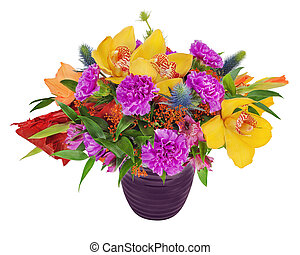 Floral bouquet of orchids, gladioluses and carnation arrangement centerpiece in blue vase isolated on white background