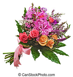 Floral bouquet of roses, lilies and orchids isolated on...