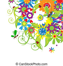Floral bouquet, summer illustration
