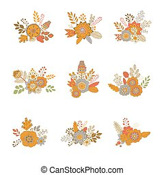 floral bouquet, vektor, ábra, ikon